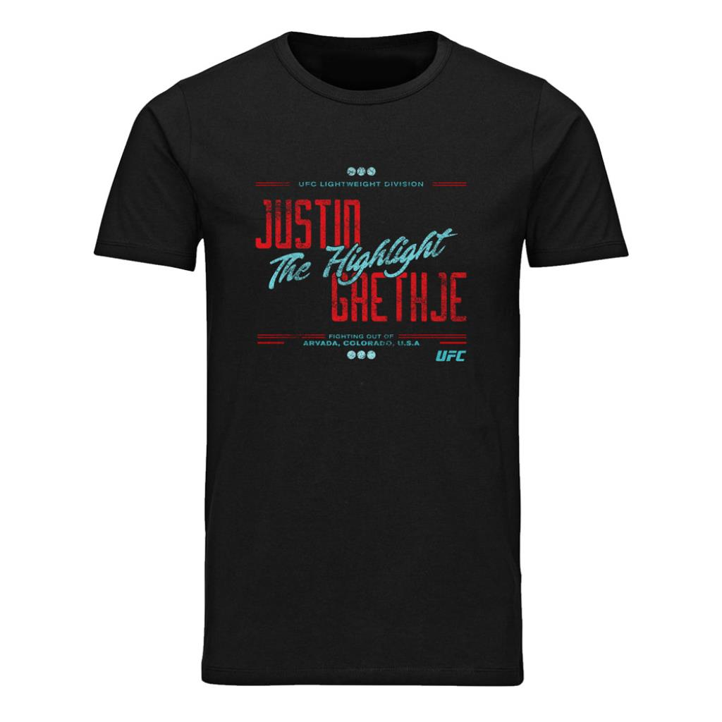 "UFC Justin ""The Highlight"" Gaethje Stacked T-Shirt-Black"