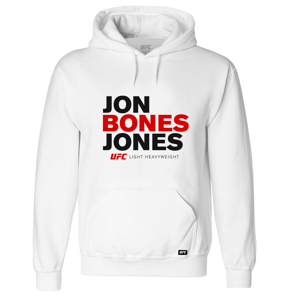 "Jon ""Bones"" Jones Stacked Hoodie- White"