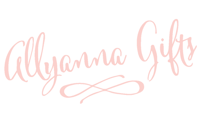 "light pink cursive logo that says ""allyanna gifts located in the header of the website"