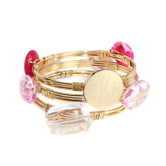 Pretty in Pink Engravable Wire Wrap Bracelet - Allyanna Gifts