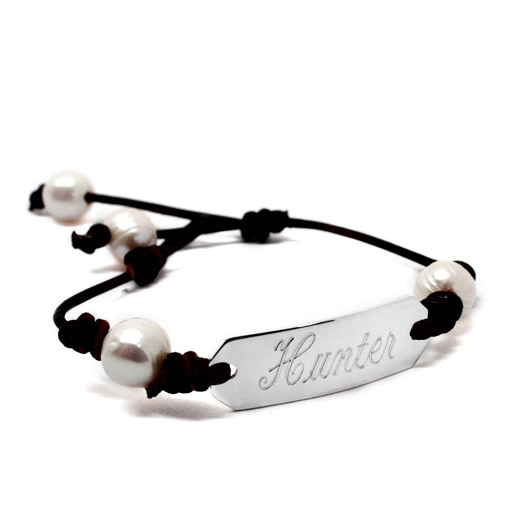 Engravable Pearl Leather Bar Bracelet - Allyanna Gifts