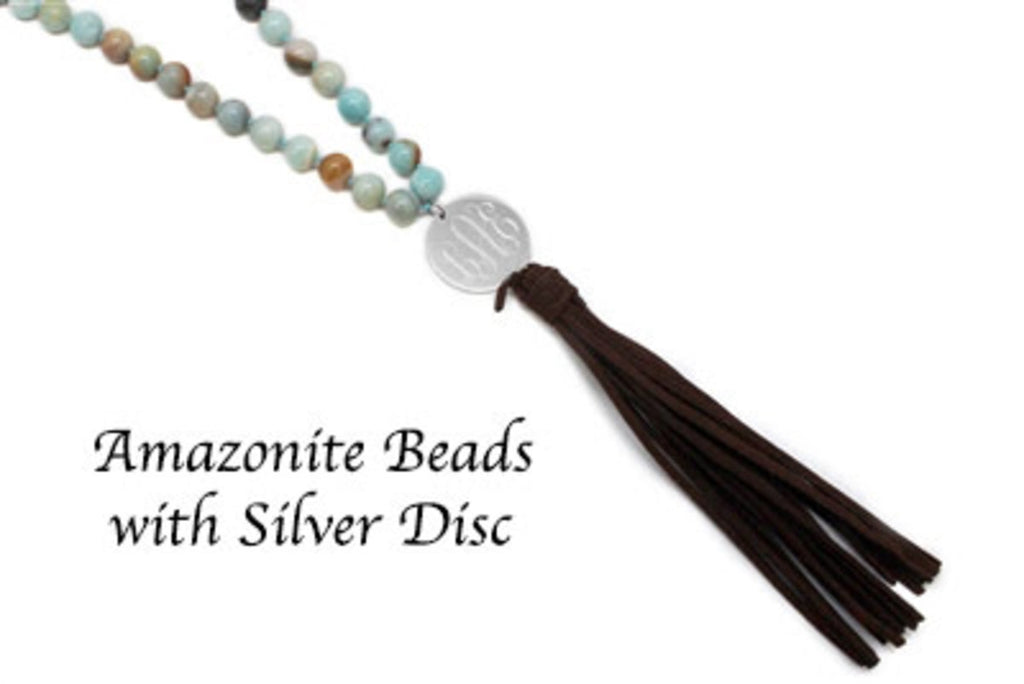 Amazonite Beaded Suede Tassel Necklace with Engraved Stainless Steel Disc - Allyanna Gifts