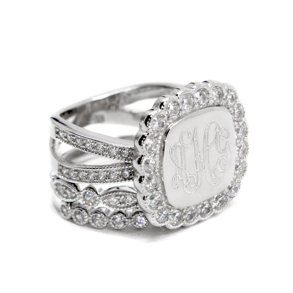 Decorative Stacked Engravable Sterling Silver Soft Square CZ Ring