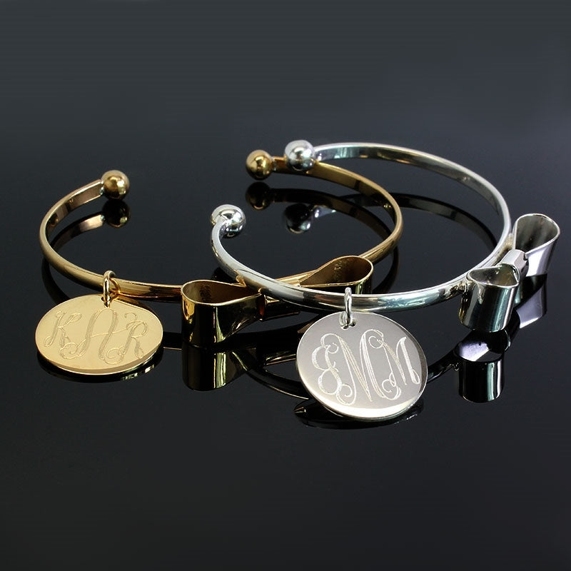 Bow Tie Bracelets with Engraved Monogram Disc - Allyanna Gifts