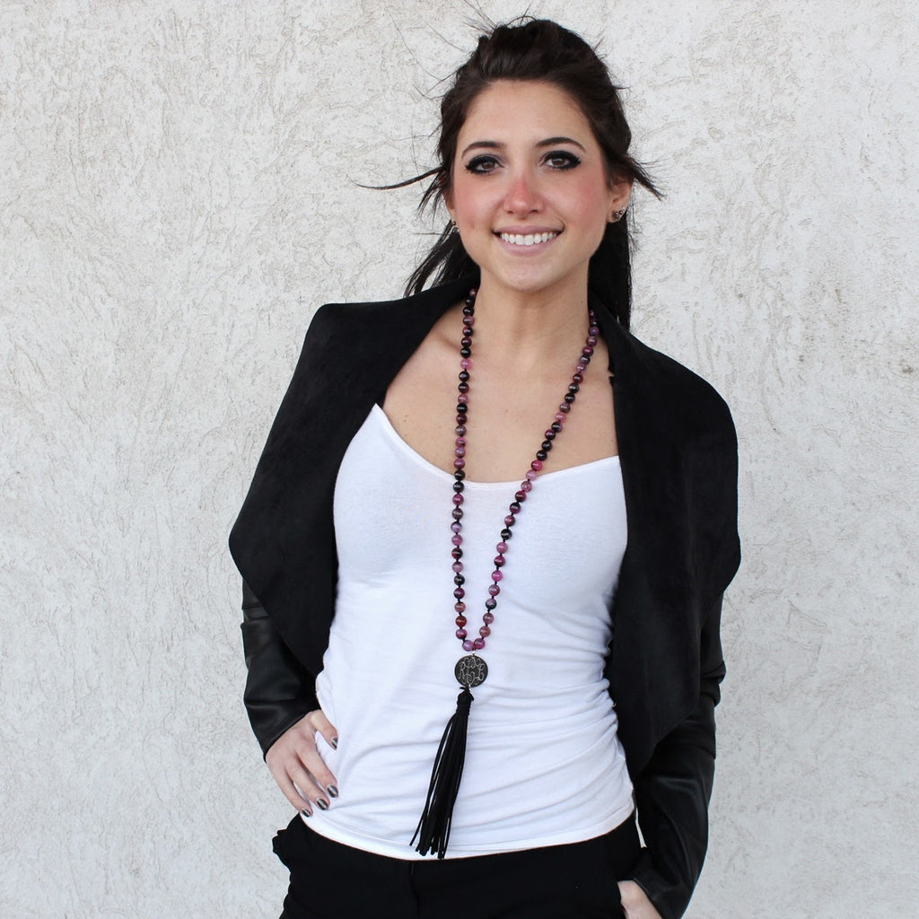 Fuschia Agate Beaded Suede Tassel Necklace with Engraved Stainless Steel Disc - Allyanna Gifts