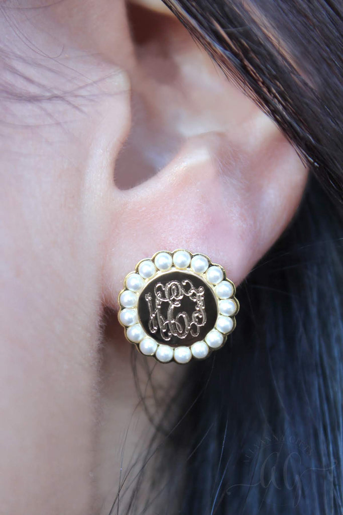 Sterling Silver Circle Pearl Earrings