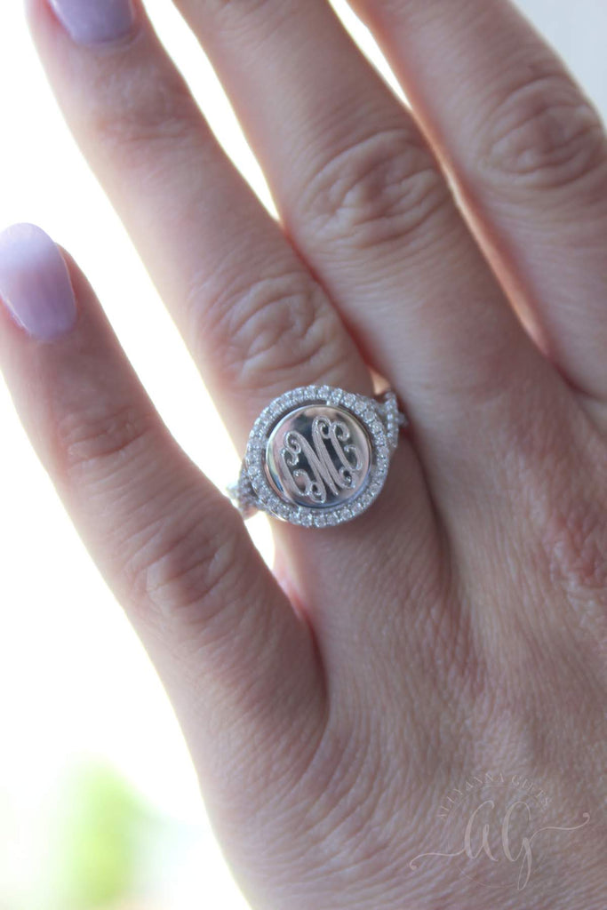 Sterling Silver Engravable CZ Halo Ring