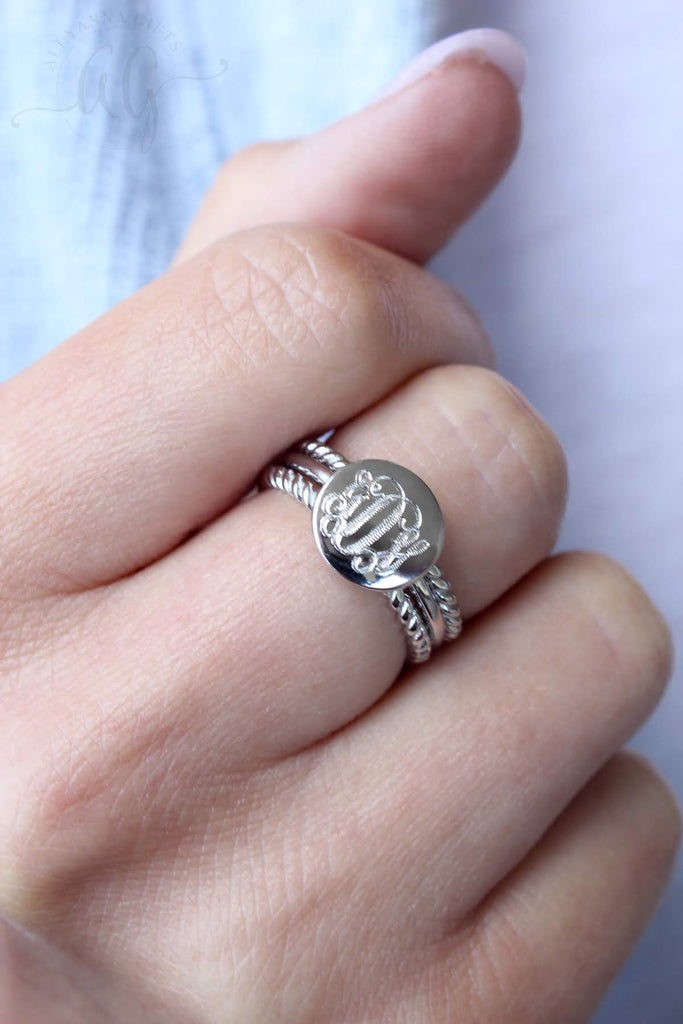 Sterling Silver Engravable Stacked Rope Ring