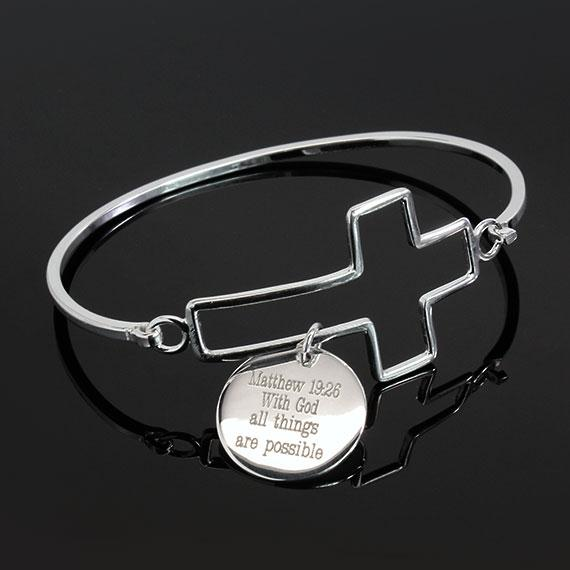 Matthew 19:26 Cross Bracelet - Allyanna Gifts
