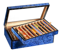 20 Pen Case Wood Veneer w/ Glass Top