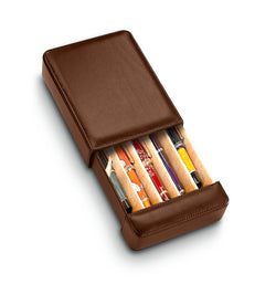 Portofino Tan 5 Pen Travel Case Italian Leather Collection
