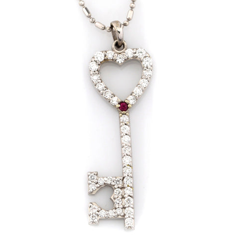 Key to My Heart Pendant - Diamonds with Ruby