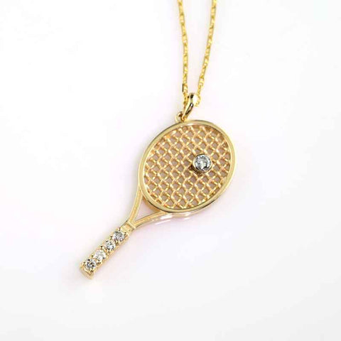 Tennis Racket Pendant - Diamond Large