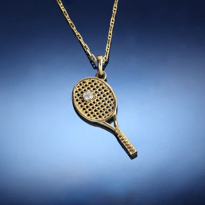 Tennis Racket Pendant - Single Diamond
