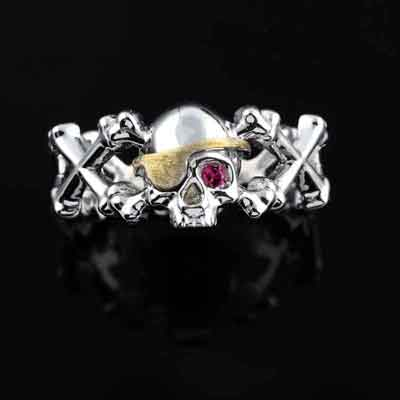 Skull and Crossbones Ring with Ruby