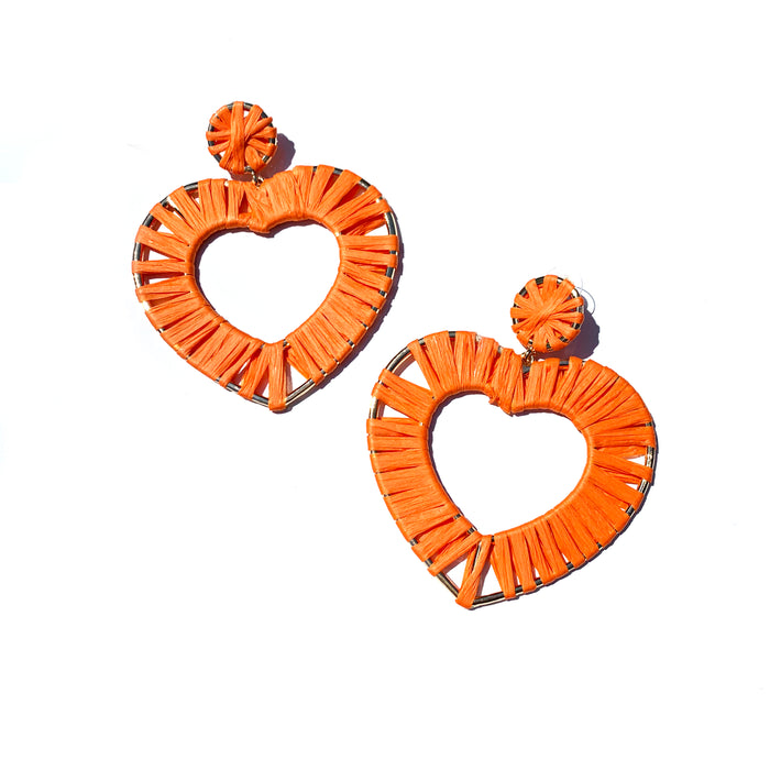 Neon Orange Raffia Heart
