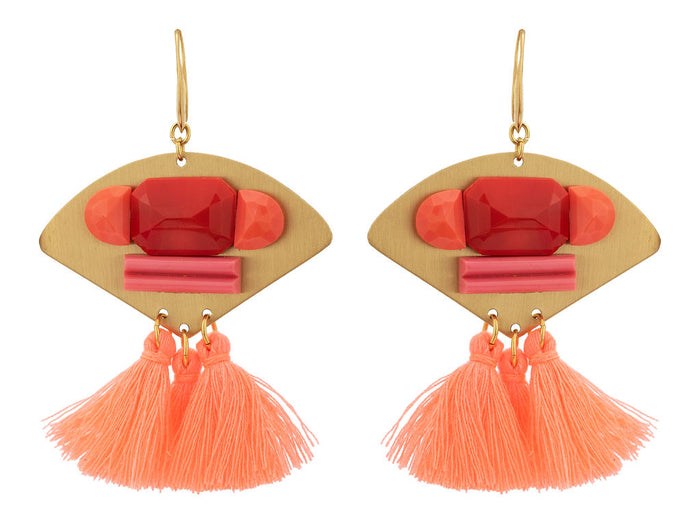 Salmon Earrings with Tassel