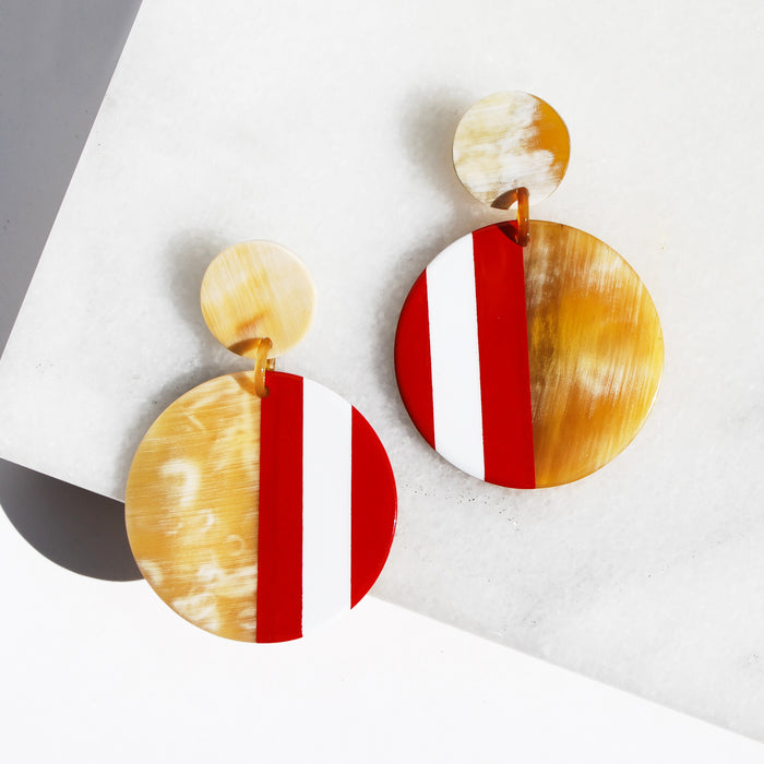 Red Striped Earrings