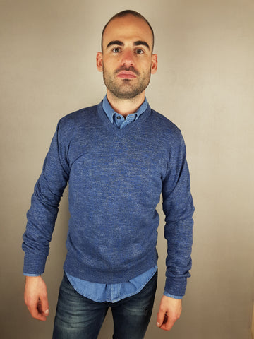 MDV V-Neck Vintage Indigo Knitwear By 6th Sense