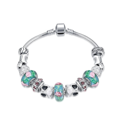 Cotton Candy Love Pandora Inspired Bracelet Made with Swarovski Elements - CharmToSpare