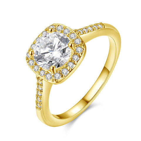 Swarovski Crystal Halo Ring in 18K Gold Plated - CharmToSpare