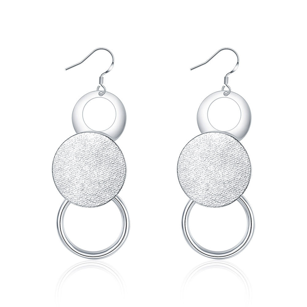 18K White Gold Plated Trio-Circular Drop Earring - CharmToSpare