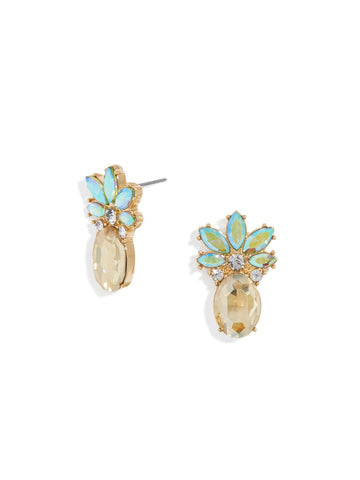 Made with Swarovski Crystal 18K Gold Plated Pinapple Stud Earring - CharmToSpare