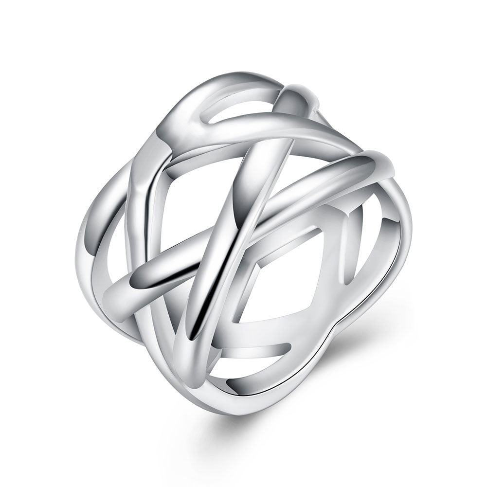 18K White Gold Plated Criss Cross X Ring - CharmToSpare