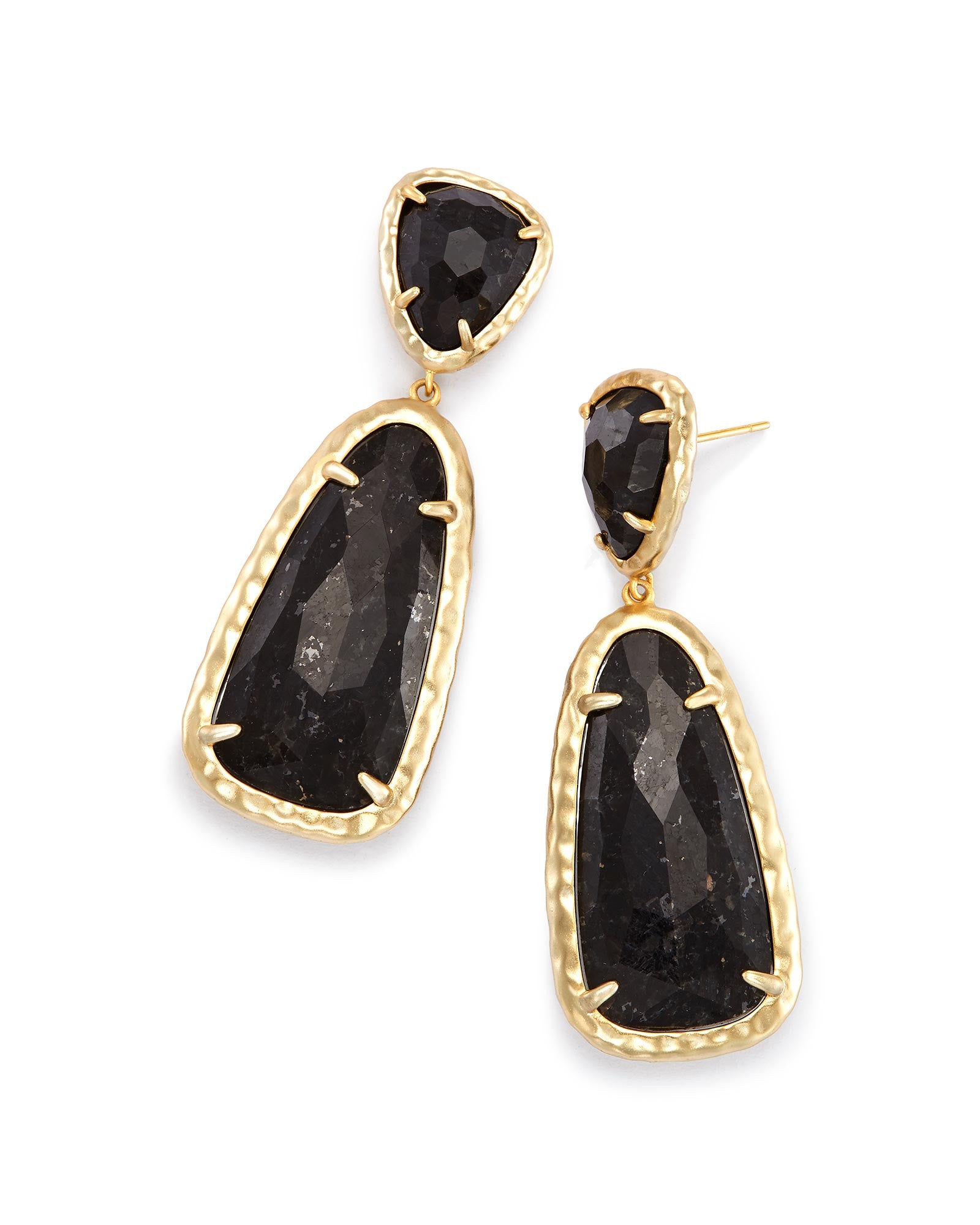 Made with Swarovski Crystal 18K Gold Filled Black Stone Drop Earrings - CharmToSpare