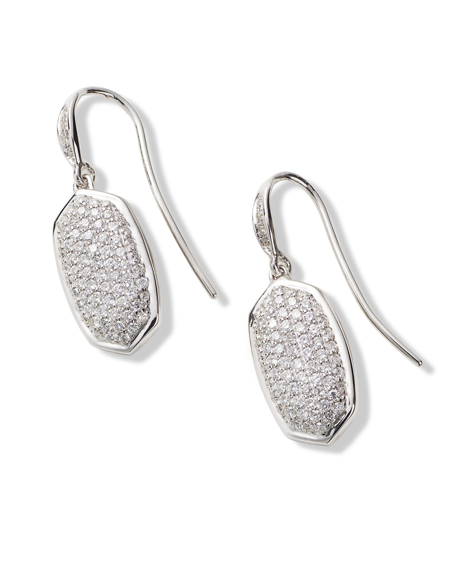Made with Swarovski Crystal 18K White Gold Pave Drop Earrings - CharmToSpare