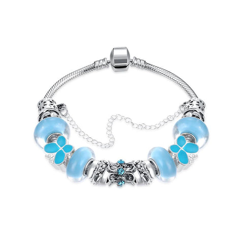 Sky Blue Petite Butterfly Pandora Inspired Bracelet Made with Swarovski Elements - CharmToSpare