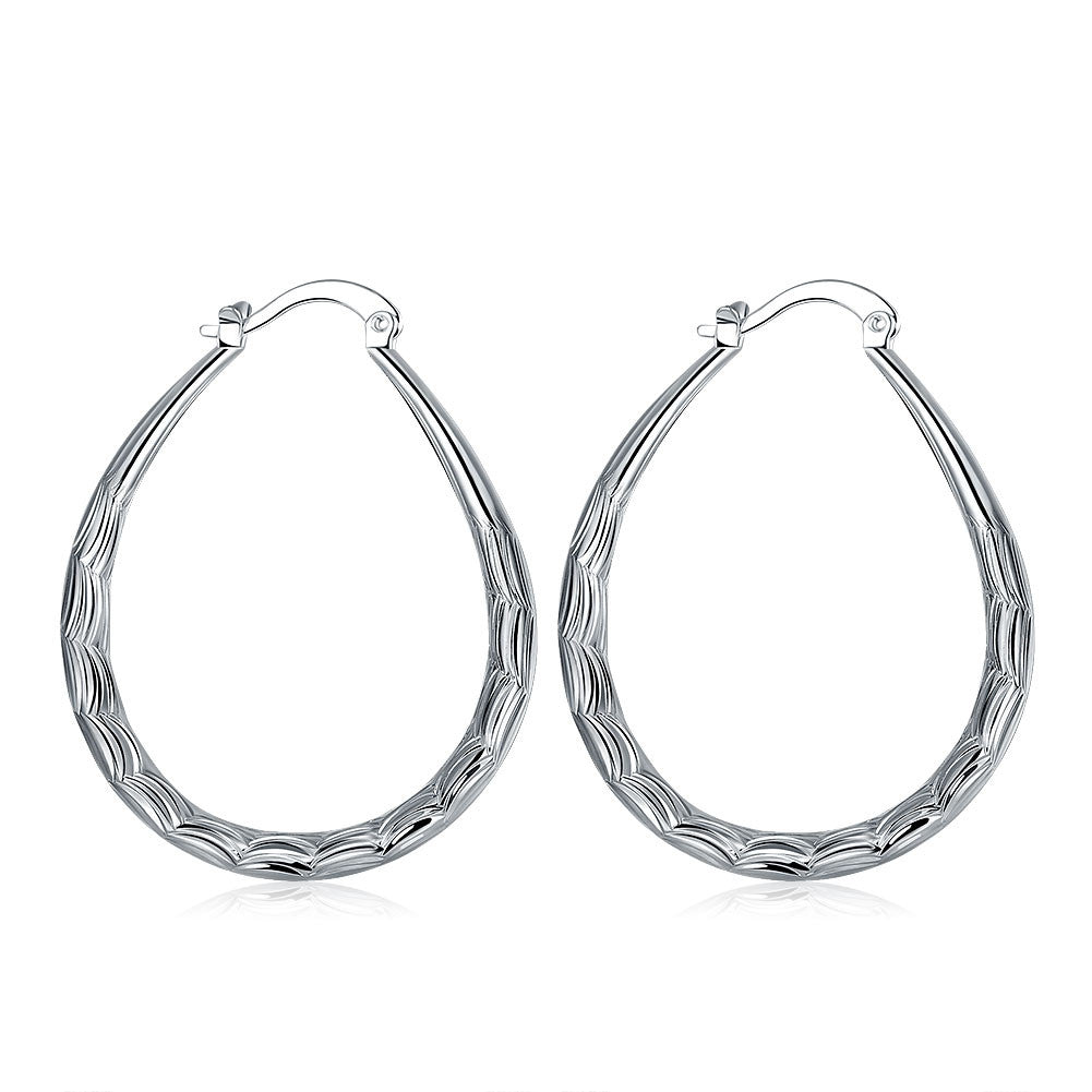 18K White Gold Plated Modern & Abstract Hoop Earring - CharmToSpare