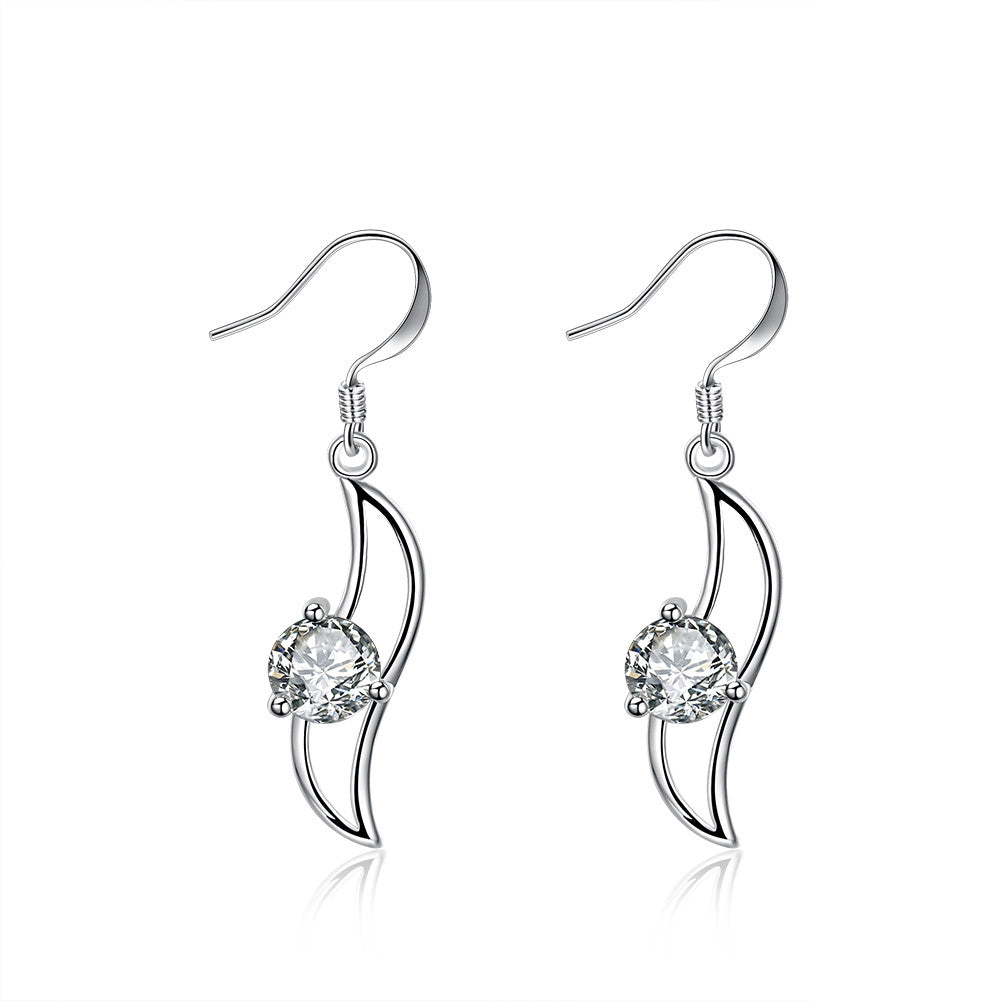 18K White Gold Plated Curved Pendant Earring - CharmToSpare