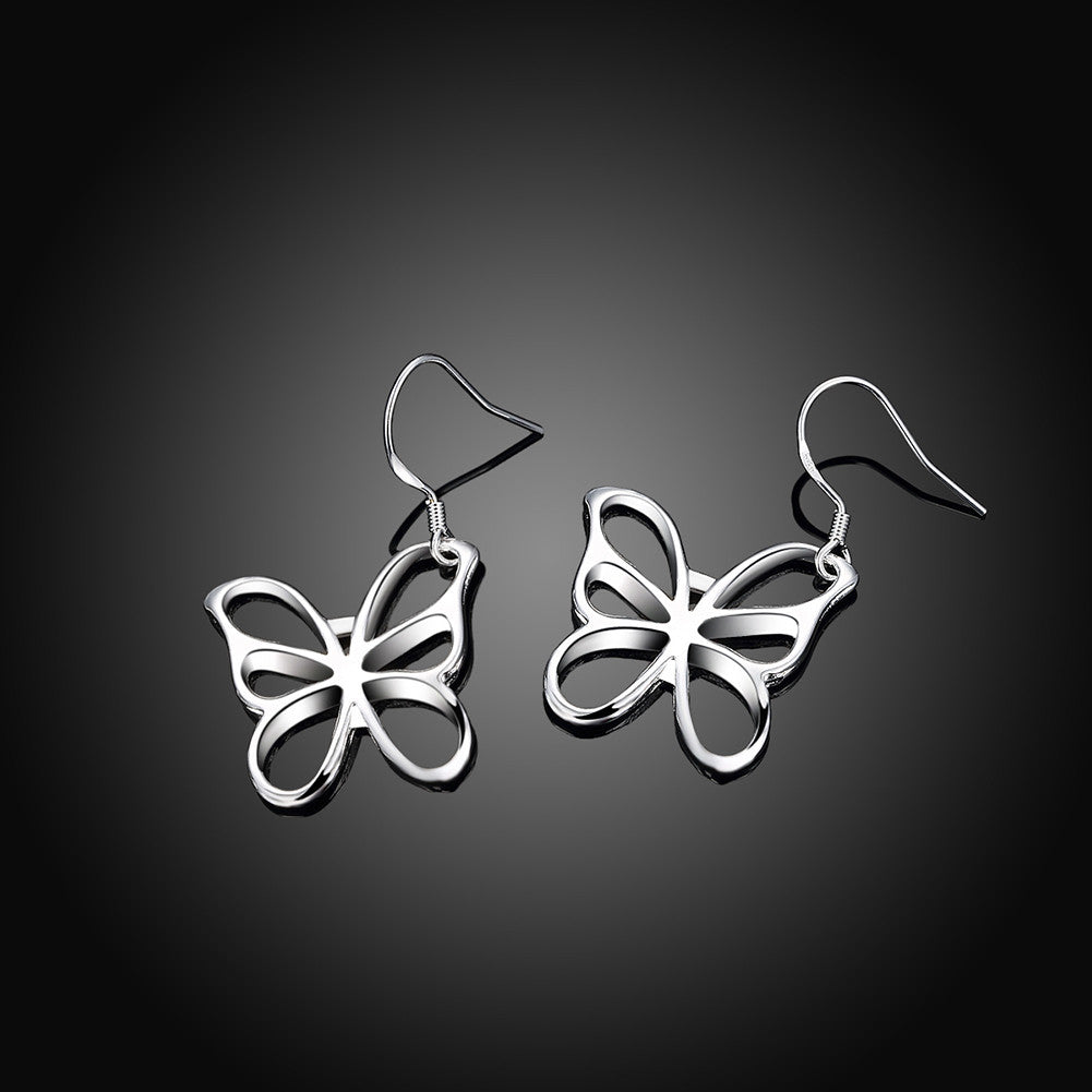 18K White Gold Plated Hollow Flying Butterfly Earring - CharmToSpare