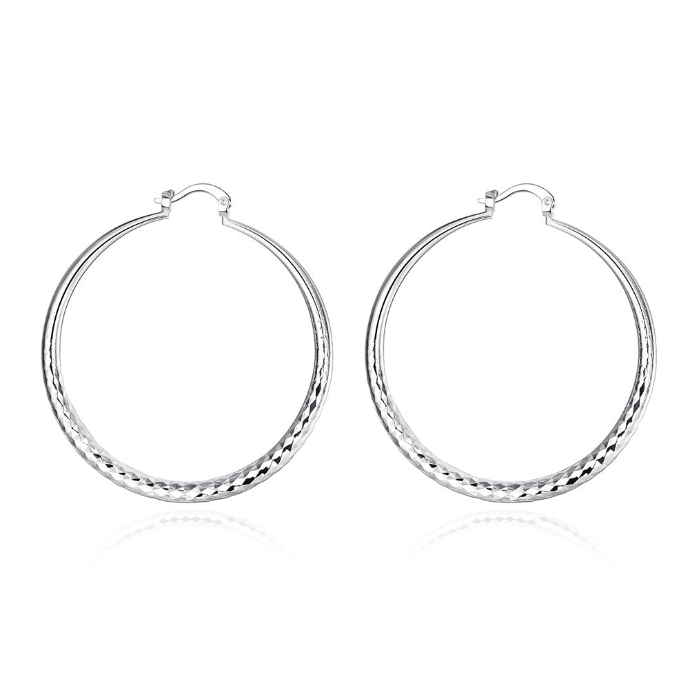 18K White Gold Plated Classic Greek Hoop Earring - CharmToSpare