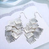 18K White Gold Plated Drop Beaded Plates Earring - CharmToSpare