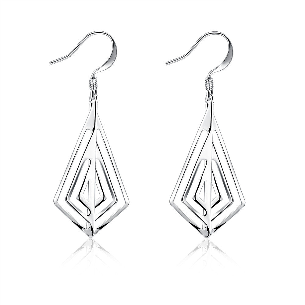 18K White Gold Plated Laser Cut Triangular Drop Earring - CharmToSpare