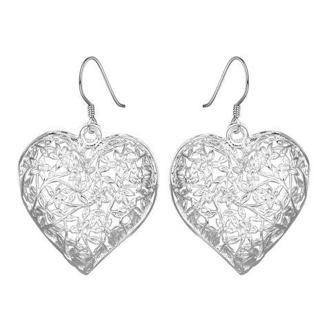 18K White Gold Plated Filigree Heart Shaped Earring - CharmToSpare