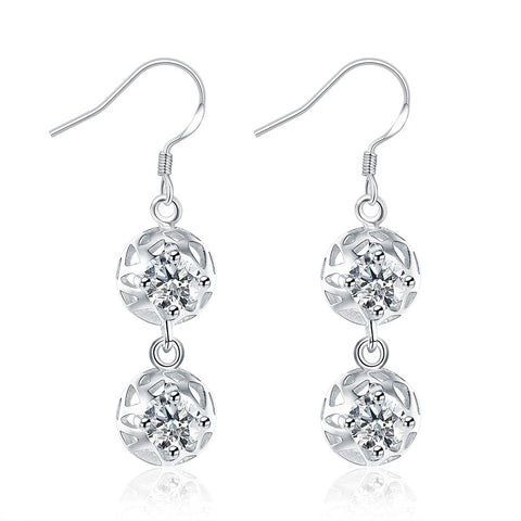 18K White Gold Plated Laser Cut Duo-Balls Drop Earring - CharmToSpare