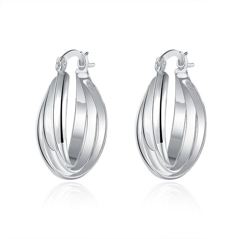 18K White Gold Plated Bent Lining Hoops - CharmToSpare