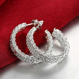 18K White Gold Plated Wired Half Cut Hoops - CharmToSpare