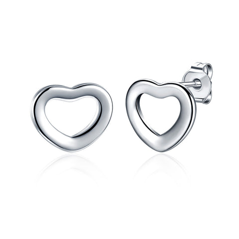 18K White Gold Plated Heart Shaped Stud Earring - CharmToSpare