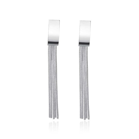 18K White Gold Plated Drop Wire Plate Earring - CharmToSpare
