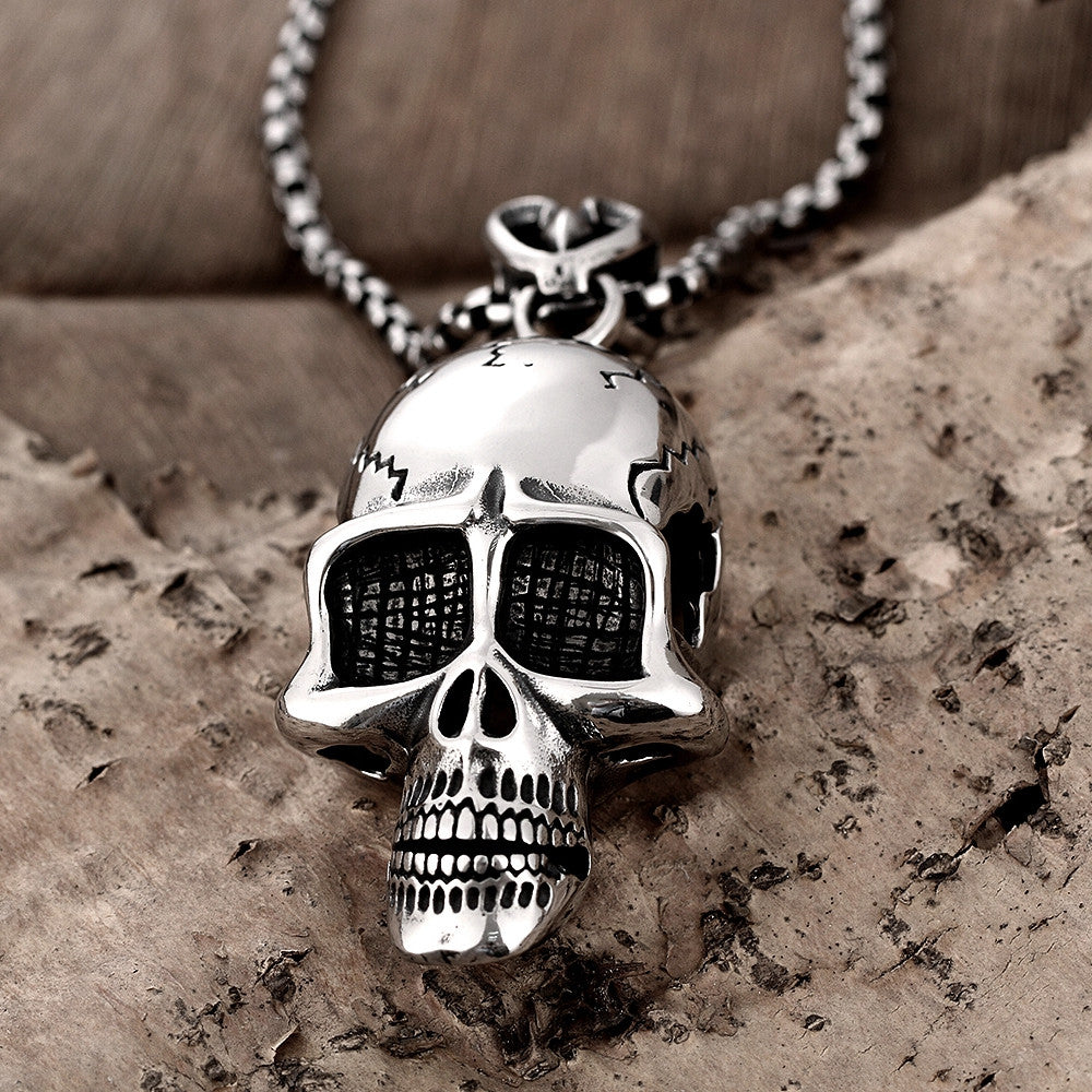 Thin Skull Emblem Stainless Steel Necklace - CharmToSpare