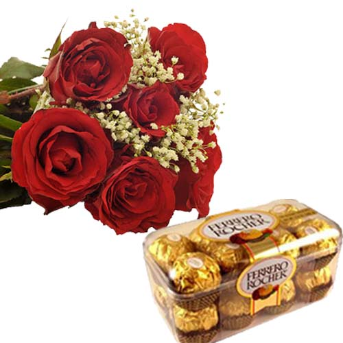 6 Red Roses with 16 pcs Ferrero Choco