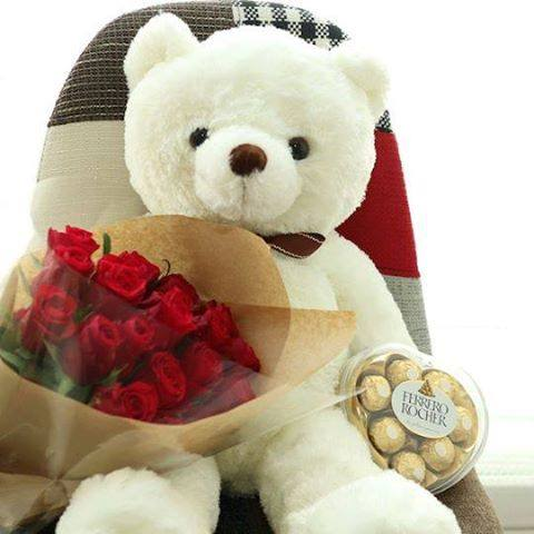 1 Dozen Red Holland Roses + Ferrero Heartshape and 3Ft Teddy Bear