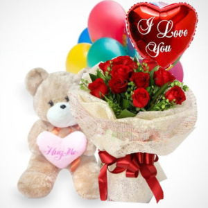 "1 dozen Holland Roses with 8″ inches Teddy Bear and 1 Mylar ""I Love You"" Ballon"