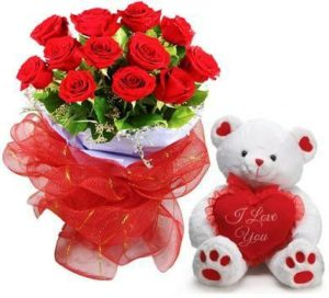 1 dozen Red Holland Roses in a Bouquet with Teddy Bear 8″ inches
