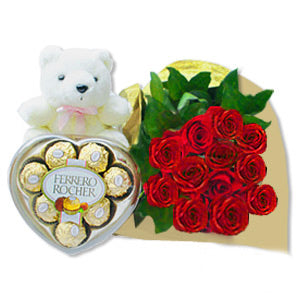 1 dozen Red Holland Roses with 8 pcs Fererro Chocolate and Mini Teddy Bear 4″ inches