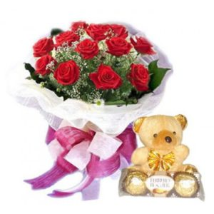 1 dozen Red Holland Roses with Teddy Bear 4″ inches and 3 pcs Ferrero Rocher